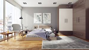 simple small apartment bedroom decor with modern furniture and