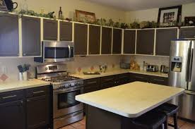 kitchen inspiring two tone kitchen cabinets with brown cabinets
