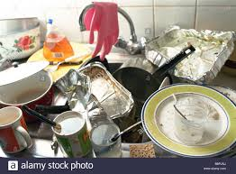 Kitchen Sink Counter Piled Over With Dirty Dishes Stock Photo - Dirty kitchen sink