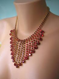 choker necklace wedding vintage images Vintage great gatsby style ruby red bridal waterfall choker jpg