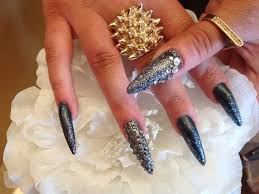 stiletto nails with gun metal glitter and swarovski crystals
