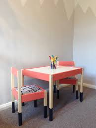 ikea hack latt table and chairs paint little greene orange