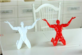 handmade white resin shouting figurine ornaments