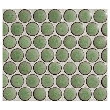 penny round mosaic  green tea matte  complete tile collection with penny round mosaic  green tea  matte from completetilecom