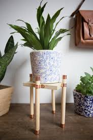 copper and wood plant stand diy live free creative co