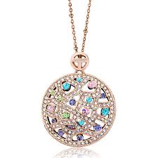 round necklace pendant images Karma rose gold round colorful crystal cubic zirconia necklaces jpg