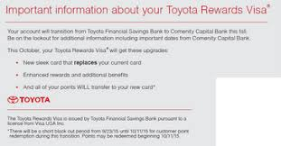 toyota credit bank toyota lexus visa cards will be issued by comenity bank with new