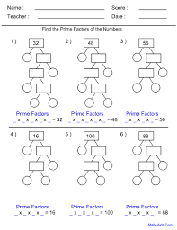 factor tree worksheets use the prime factor trees to determine
