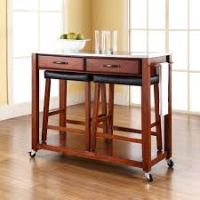 craftsman style kitchen design with 2 stools crosley kitchen carts