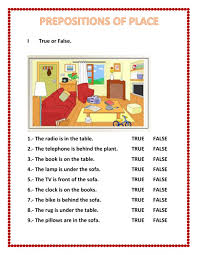 The Book Is On The Table Prepositions Of Place Interactive Worksheet