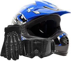 blue motocross gear amazon com youth offroad gear combo helmet gloves goggles dot