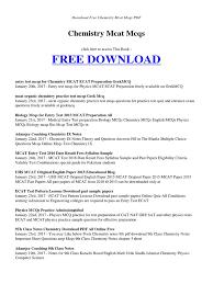 chemistry mcat mcqs pdf medical college admission test