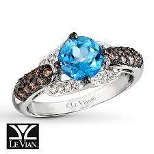 Jareds Wedding Rings by Kay Le Vian Blue Topaz Ring 3 8 Ct Tw Diamonds 14k Vanilla Gold