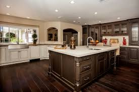 white kitchen with dark hardwood flooring awesome smart home design