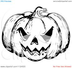 halloween evil pumpkin clipart black and white