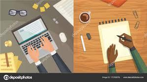 le de bureau design vue de dessus de conception plate sur le concept de bureau design