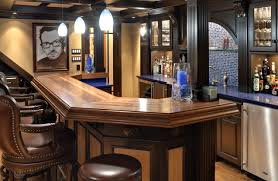 bar exciting small built in home bar design with brown wood bar