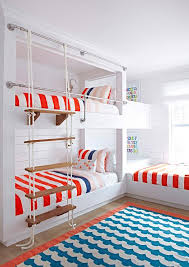 Bunk Bed Ladder Bungalow Room With White Rope Bunk Bed Ladder Cottage