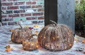set of 3 indoor and outdoor decorative lighted pumpkins halloween