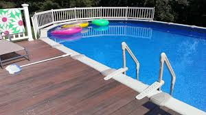 pool contemporary picture of light brown oak wood above ground