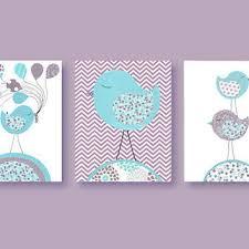 Pottery Barn Brooklyn Aqua And Purple Nursery Prints Birds From Sweetpeanurseryart On