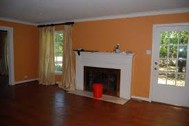 simple design home interior ideas with peach wall paint color
