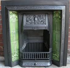 green art nouveau fireplace tiles set ref 025 green set art