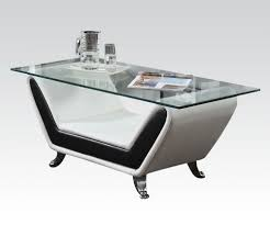 modern glass top coffee table black u0026 white bonded leather