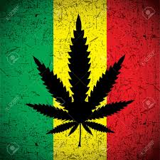 Weed Flag Cannabis Leaf On Grunge Rastafarian Flag Vector Illustration