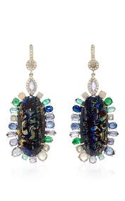 white opal earrings 18k white gold boulder opal earrings with sapphire moda operandi