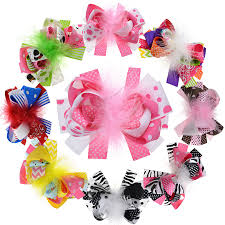 loopy bow 8pcs 5 inches kids loopy puff feather hair bow with
