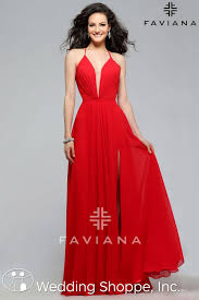 a simple red prom dress with plunging neckline prom dresses