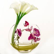 orchid arrangements white real touch calla purple orchid arrangement flovery