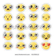 doodle emoticon set lovely kawaii emoticon doodle stock vector 611269112