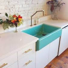 Colored Sinks Kitchen 10 Farm Sinks We Wish We Owned White Countertops Teal Kitchen