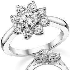 flower engagement rings brilliant flower shaped moissanite engagement ring