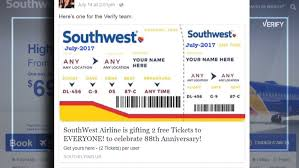 Southwest Flight Tickets by Verify Is Southwest Airlines Giving Away Free Flights On Facebook