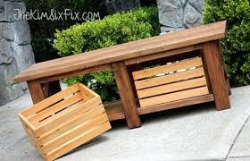 storage wood bench rustic x leg wooden bench with built in crate