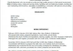 Bartender Resume Examples by Innovation Ideas Resume Bartender 6 Professional Bartender Resume
