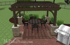 Backyard Brick Patio Design With Grill Station Seating Wall And by Curvy Courtyard Patio Design With Seating Wall U0026 Pergola