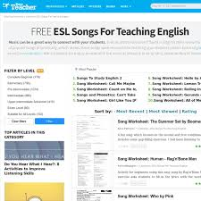 849 free esl songs for teaching english worksheets pearltrees