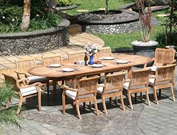 outdoor patio table seats 10 amazon com new 11 pc luxurious grade a teak dining set large 117