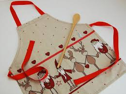 tablier de cuisine fait tablier cuisine enfant sur le théme de noël et écru ecole et