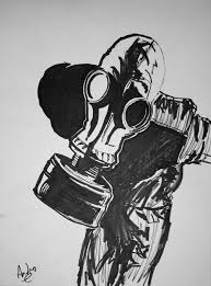 gas mask dude by mightykingandrew on deviantart
