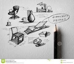 home design sketch free furniture concept design sketching on white paper royalty free