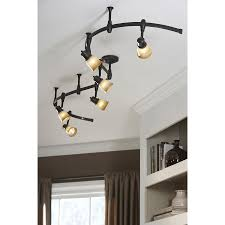 bronze kitchen light fixtures shop portfolio 6 light bronze decorative flexible track light with