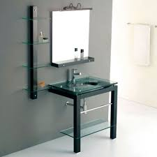 Bathroom Vanity With Shelf by Bathroom With Glass Vanity Featured Bottom Shelf Beautiful Glass