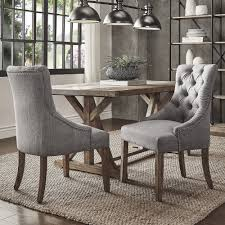 Essential Home Hayden 5 Piece Upholstered Dining Set by Benchwright Button Tufts Wingback Hostess Chairs Set Of 2 By
