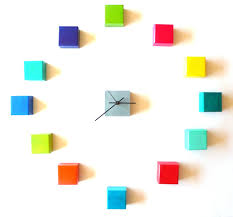 Modern Wall Clocks Accessories Modern Wall Clocks With Colorful Cubes Numerical For