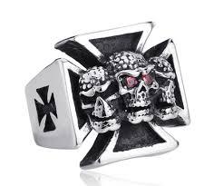 heavy iron cross skulls ring proud n loud